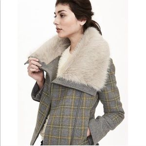 Grey Plaid Moto Jacket with Faux Fur Collar